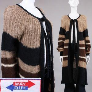 L/OS Vintage 1970s Brown/Black Holey Long Cardigan